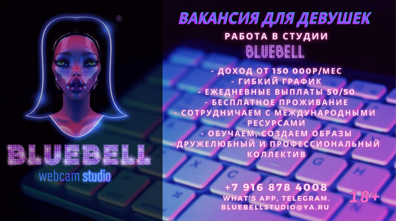 Вебкам студия BLUEBELL приглашает на работу девушек 18+